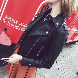 2018春秋皮衣女短款pu皮外套时尚显瘦学生机车皮夹克