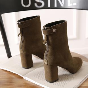 秋冬潮磨砂皮粗跟女短靴高跟单靴子后拉链裸靴及女鞋