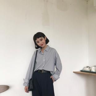 大sim韩国小清新条纹衬衫女2018长袖宽松学生上衣