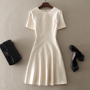 中长款收腰短袖连衣裙子时尚大牌纯色A字裙2019春季气质女装