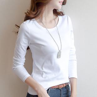 2件59元春季女2019长袖t恤女圆领白色打底衫体恤上衣
