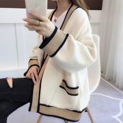 中长款V领女秋装慵懒风2018宽松秋冬毛衣女针织开衫外套