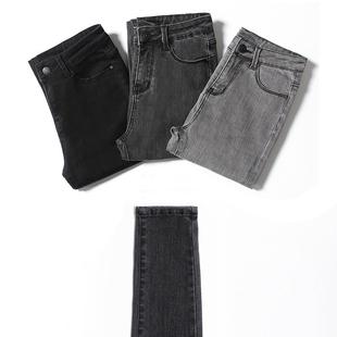 烟灰色牛仔裤女长裤秋冬季网红高腰加绒显瘦紧身弹力黑色小脚九分