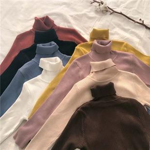 纯色百搭高领长袖毛衣学生秋季套头针织衫打底衫外套女装
