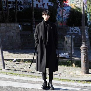 日系风衣男长款加厚保暖呢大衣男潮男士宽松呢外套毛呢子