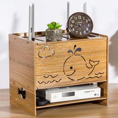 插座宽带猫木质家用盒子装饰箱宽带桌面猫无线整理路由器收纳盒