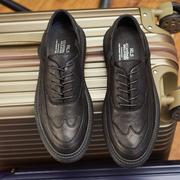 英伦布洛克厚底潮男鞋商务百搭休闲小皮鞋复古韩版秋季真皮男鞋