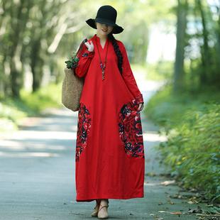 秋冬装民族风女装复古中国风印花棉麻加绒大码长袖连衣裙长裙