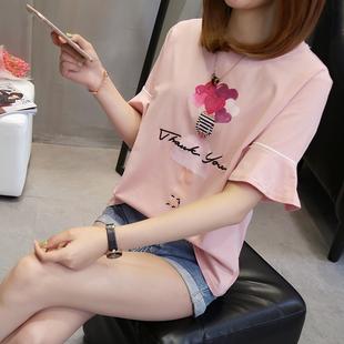 加肥加大码t恤短袖上衣女夏2018宽松显瘦200斤胖mm体恤潮