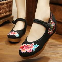 老北京布鞋女手工夏坡跟女单鞋牛筋底帆布鞋广场舞鞋民族风绣花鞋