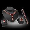新娘礼服宴会红色宝石四件套 项链耳环手链戒指套装 欧美夸张配饰