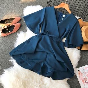 欧洲站2018夏季女装chic纯色V领显瘦简约大气气质连衣裙裤A字