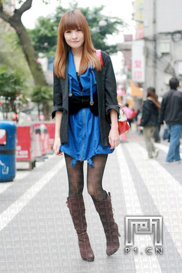 跟着都市街边重庆美女街拍图片美女学穿衣 太